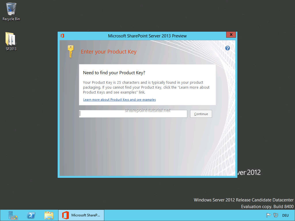 Enter the product key to start the SharePoint 2013 installation.