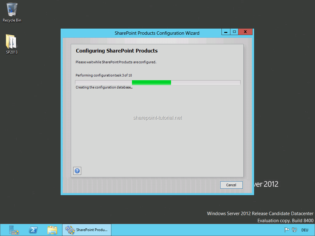 Wait until the SharePoint 2013 installation has finished.