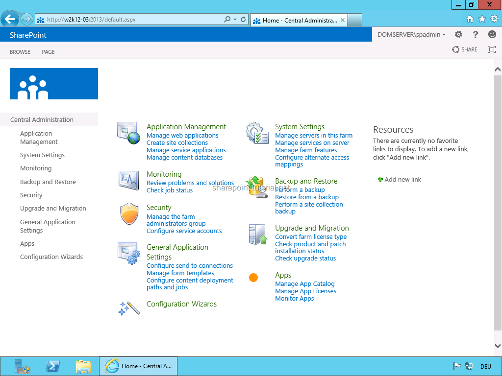 SharePoint 2013 Central Administration.