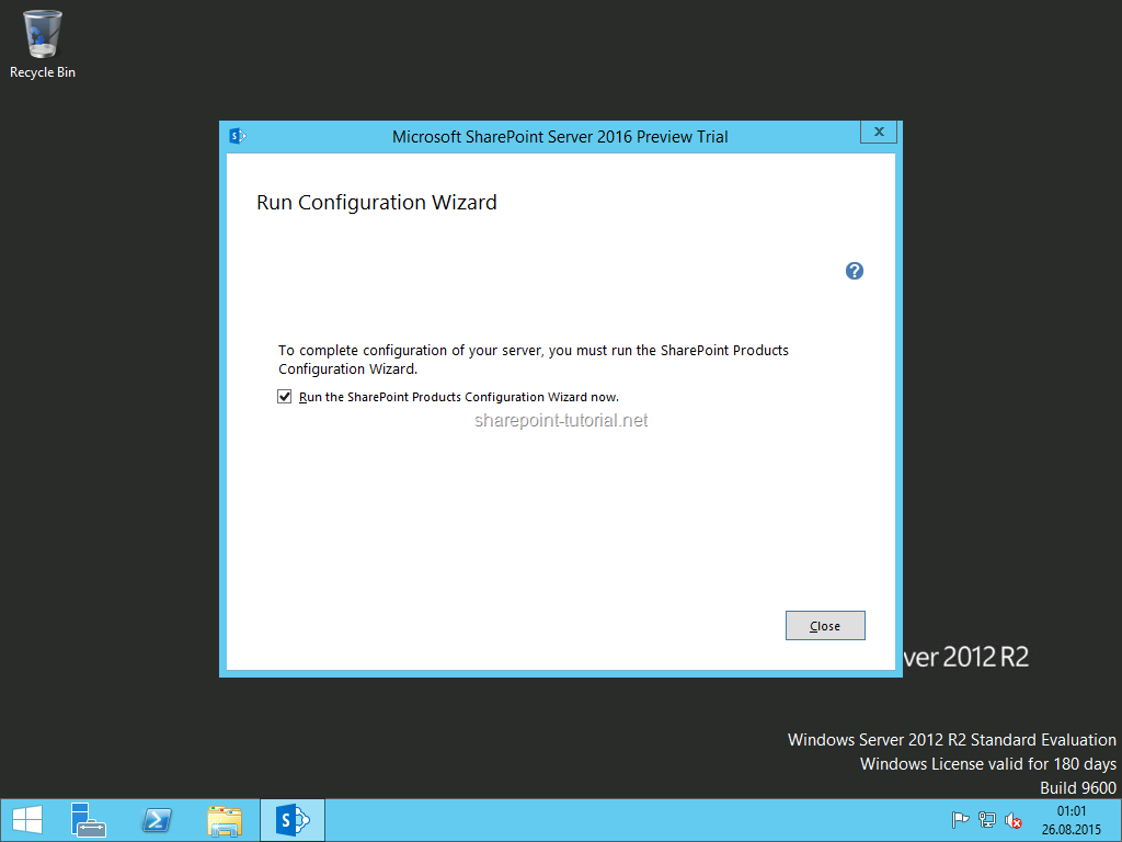 Run the SharePoint Products Configuration Wizard.