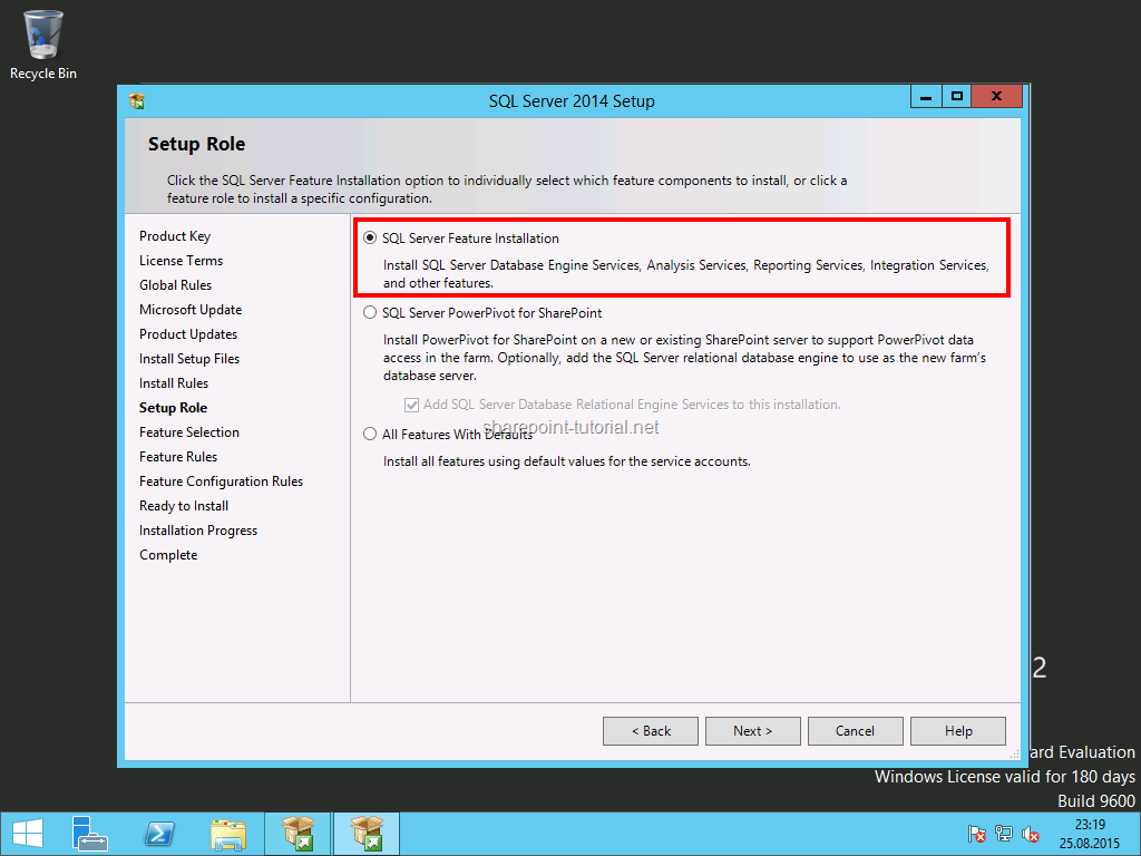Select the SQL Server Feature Installation.