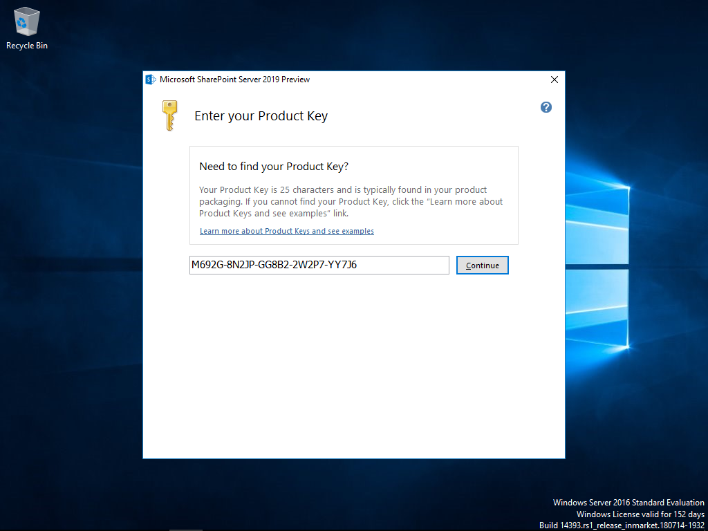 Enter the product key to start the SharePoint 2019 installation.