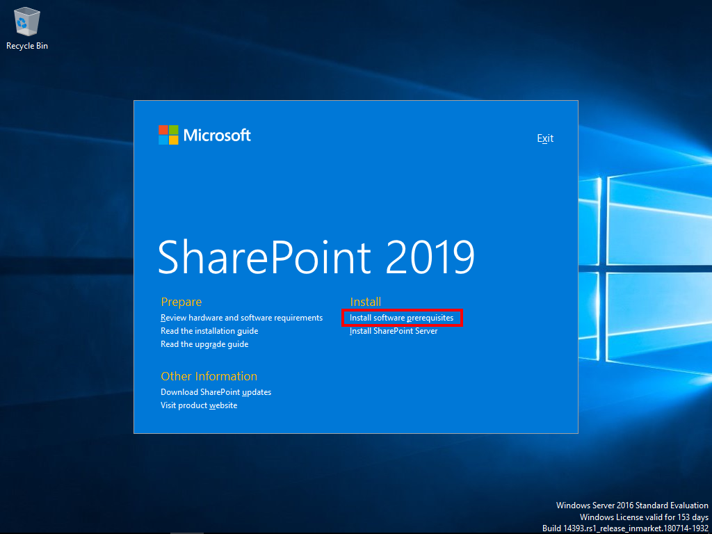 Start the SharePoint 2019 prerequisites installer.