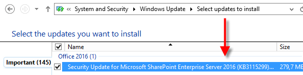 SharePoint 2016 Public Updates via Windows Update