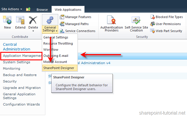 Enable or disable SharePoint Designer 2010.