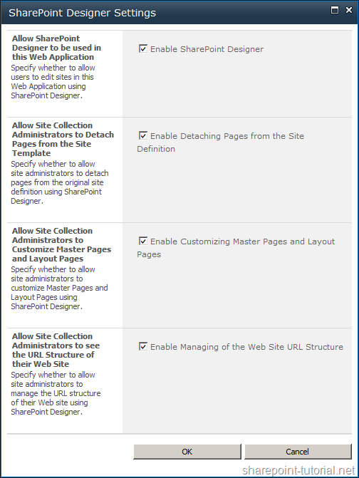 Setup four different SharePoint Designer settings.
